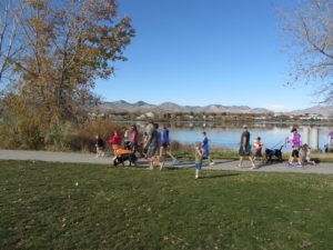 Participants walked their dogs along the 1.7-mile loop around the lake at Clement Park.