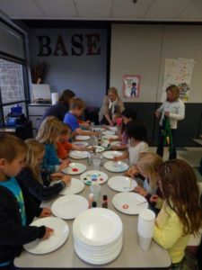 Kids use paints to decorate Hungry for Change plates.